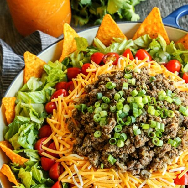 Jessica's Taco Salad with Creamy Taco Dressing • a farmgirl's dabbles