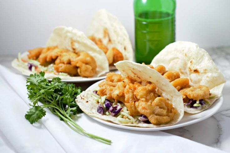 Beer Battered Shrimp Tacos with Fire Roasted Tortilla Shells for Two • Zona Cooks