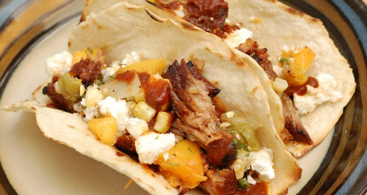 Pulled Pork Tacos with Grilled Peach Salsa - Baking Sense