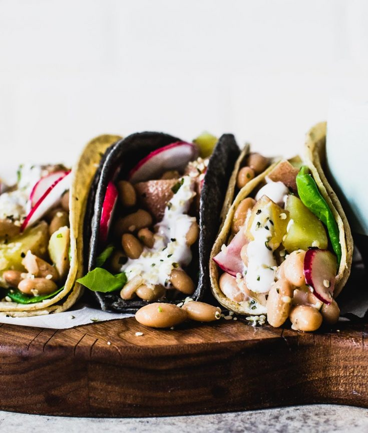 Vegetarian Potato Tacos with White Beans and Garlic Yogurt Sauce